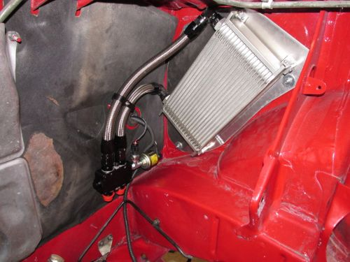 Oil cooler installed with Wilhelm Raceworks mounting plate