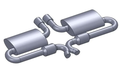 Center exit X-pipe exhaust design.