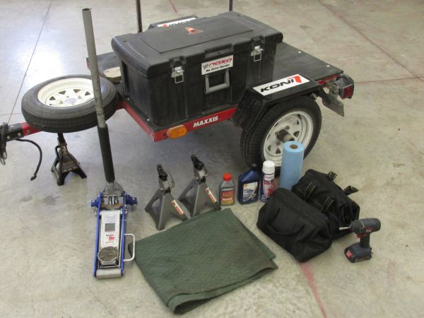 Tire trailer tool box